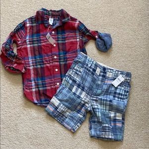 NWT gap boys plaid outfit size S(6-7)